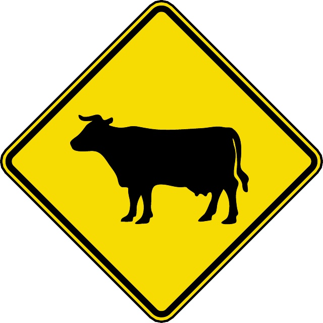 CATTLE CROSSING HIGHWAY VECTOR SIGN Logo photo - 1