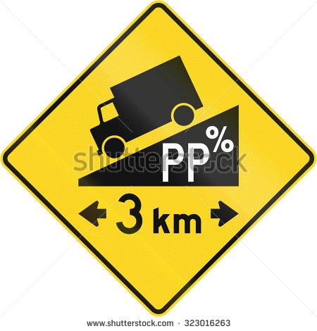 STEEP DOWNHILL GRADE ROAD SIGN Logo photo - 1